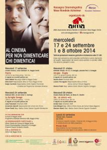 Locandina Rassegna Cinematografica sull'Azheimer 2014 AIMA Reggio Emilia