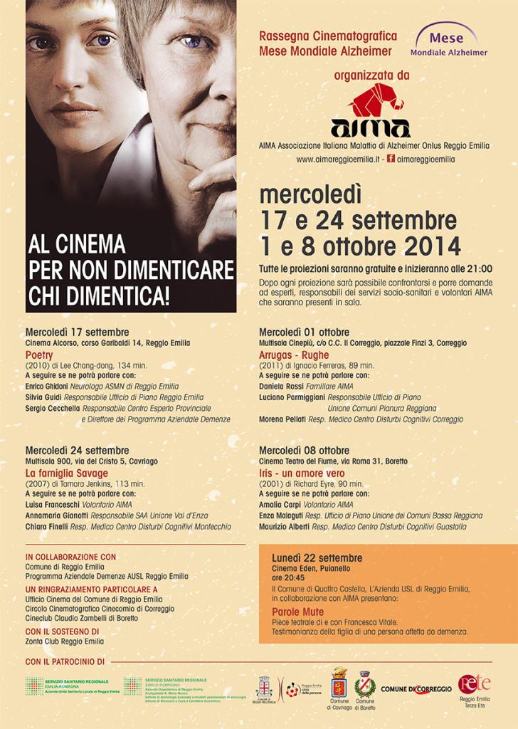 Locandina Rassegna Cinematografica Mese Mondiale Alzheimer 2014 AIMA Reggio Emilia