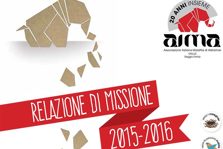 AIMA Relazione di Missione Associazione Malattia di Alzheimer Reggio Emilia 2015-2016 particolare della copertina