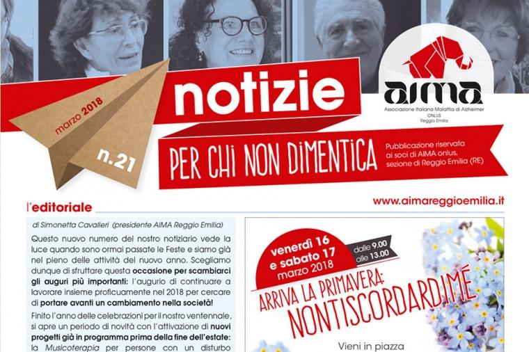 ritaglio della copertina del notiziario di marzo 2018 AIMA Reggio Emilia