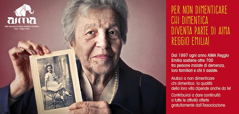 Cartolina: diventa socio AIMA Associazione Malattia di Alzheimer Reggio Emilia