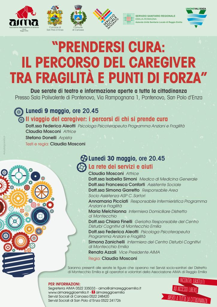 Locandine serate informative il percorso del caregiver di San Polo d'Enza 2016
