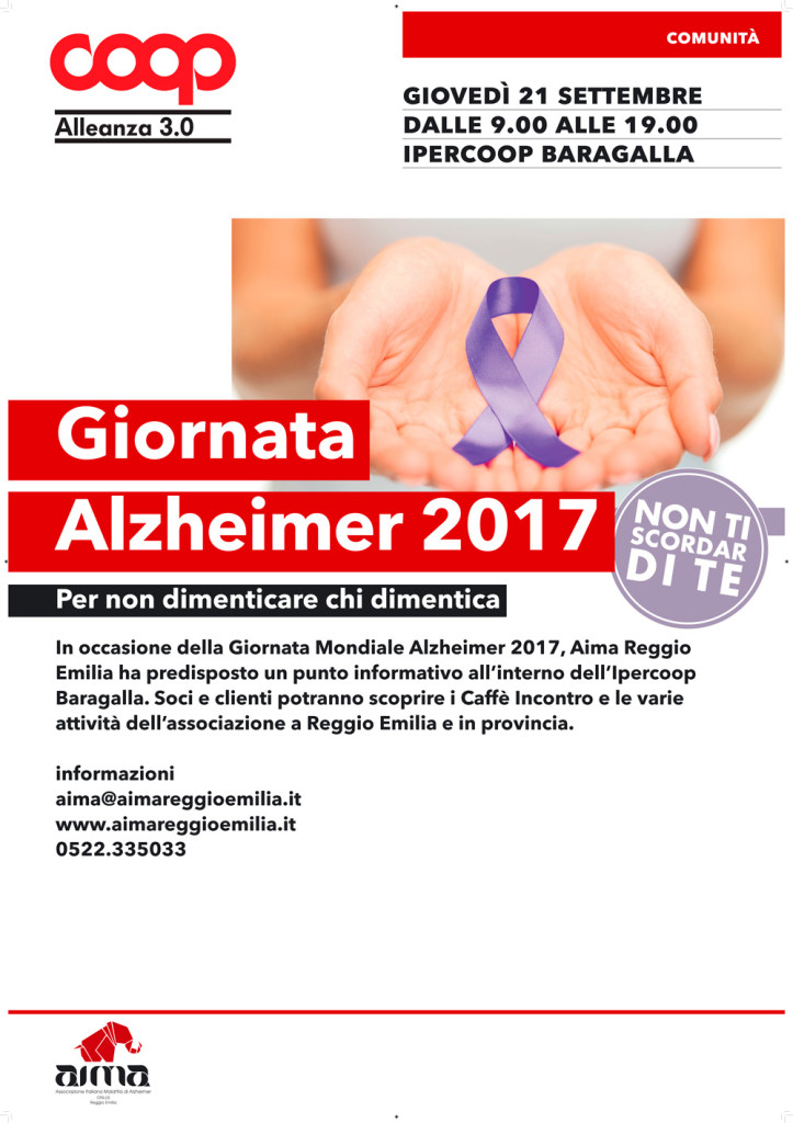 aima all'ipercoop baragalla giovedì 21 settembre giornata mondiale alzheimer