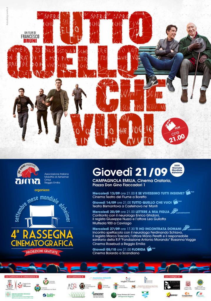 giornata mondiale alzheimer 2017 AIMA Reggio Emilia Rassegna Cinematografica film a Campagnola