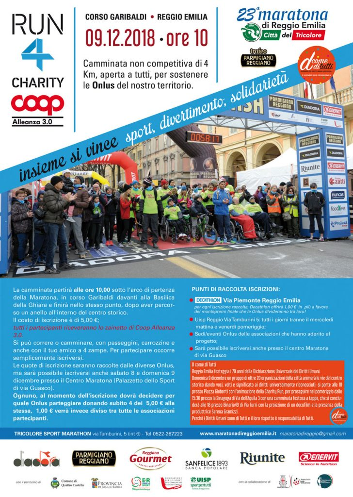 locandina AIMA alla Run4Charity Coop Alleanza 3.= 2018