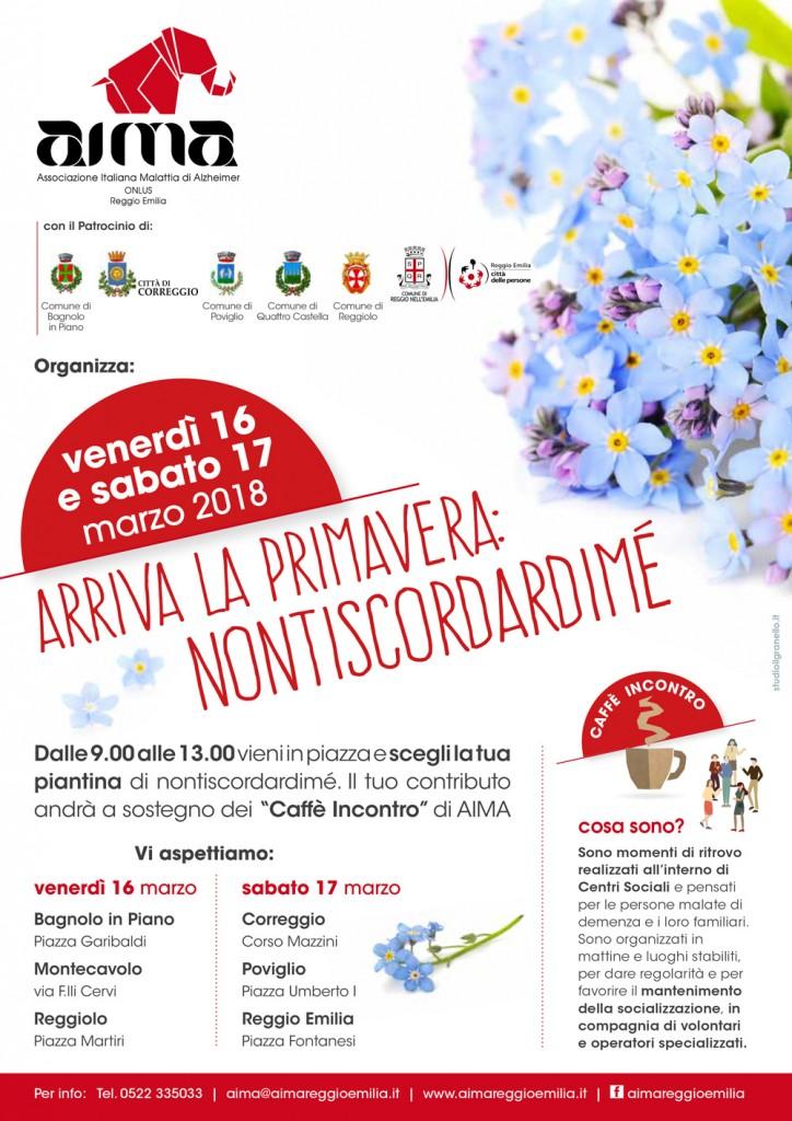 locandina A4 della campagna È arrivata la Primavera: nontiscordardimé di AIMA Reggio Emilia