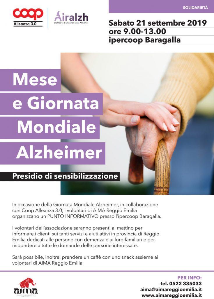Locandina Giornata Mondiale Alzheimer 2019: volontari AIMA Reggio Emilia all'Ipercoop Baragalla