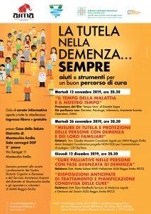 Locandina serate informative sulla demenza a Montecchio 2019