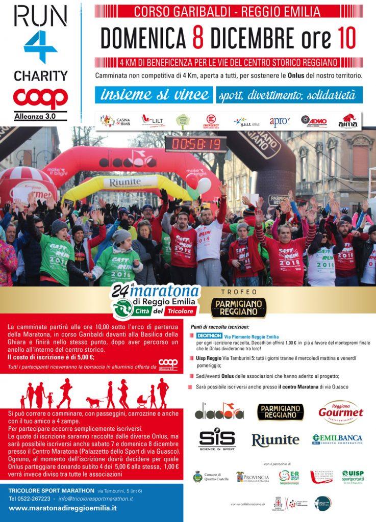 Locandina della run4charity camminata Maratona di Reggio Emilia 2019