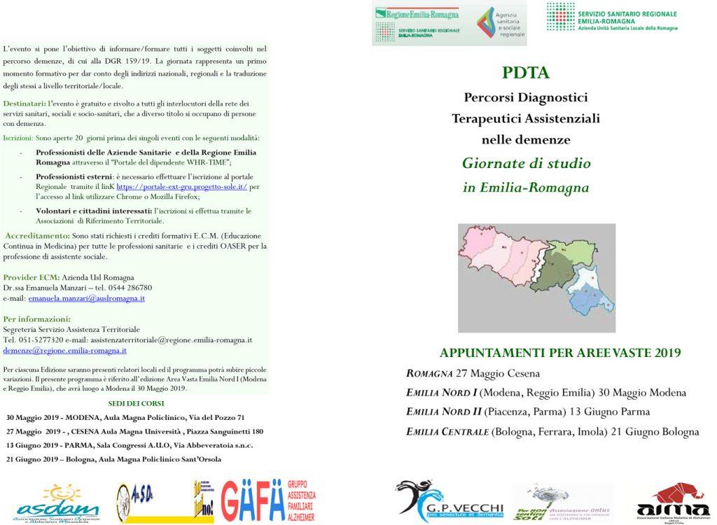brochure della giornata di studio sui PDTA nelle demenze Emilia-Romagna Nord I