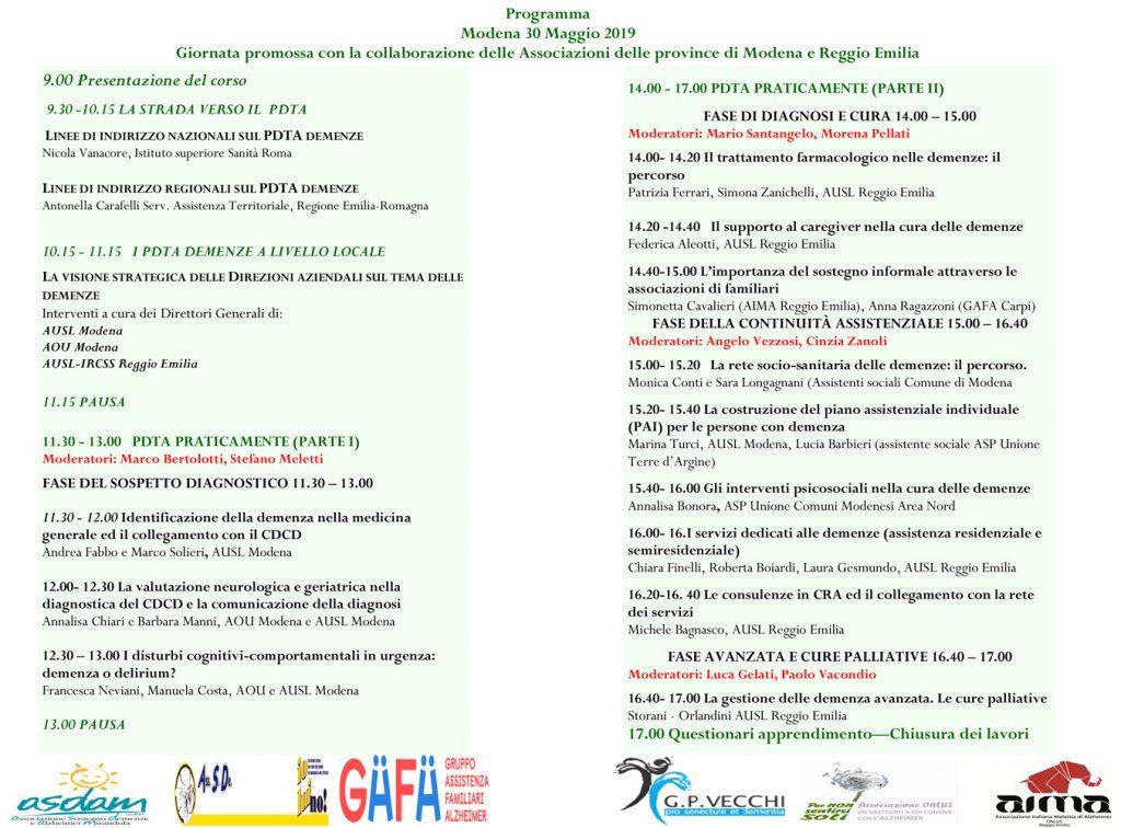 programma della giornata di studio sui PDTA nelle demenze Emilia-Romagna Nord I