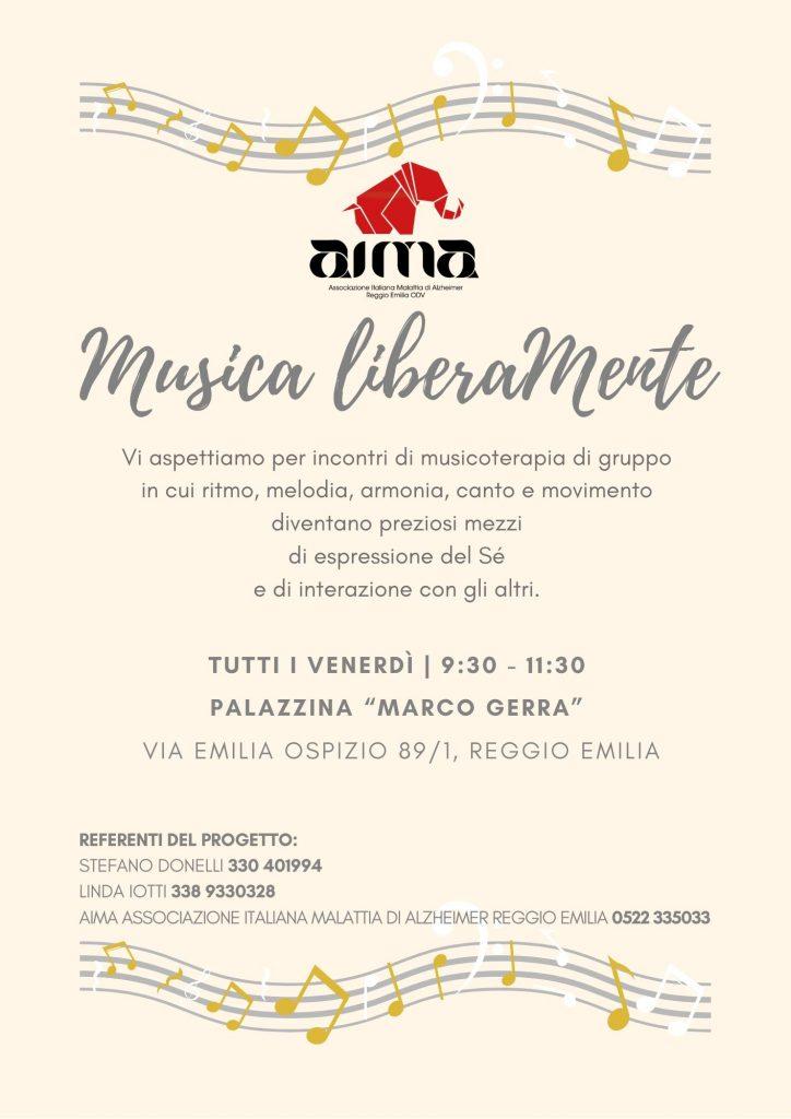 Volantino del percorso di musicoterapia per persone con demenza organizzato da AIMA Reggio Emilia ODV