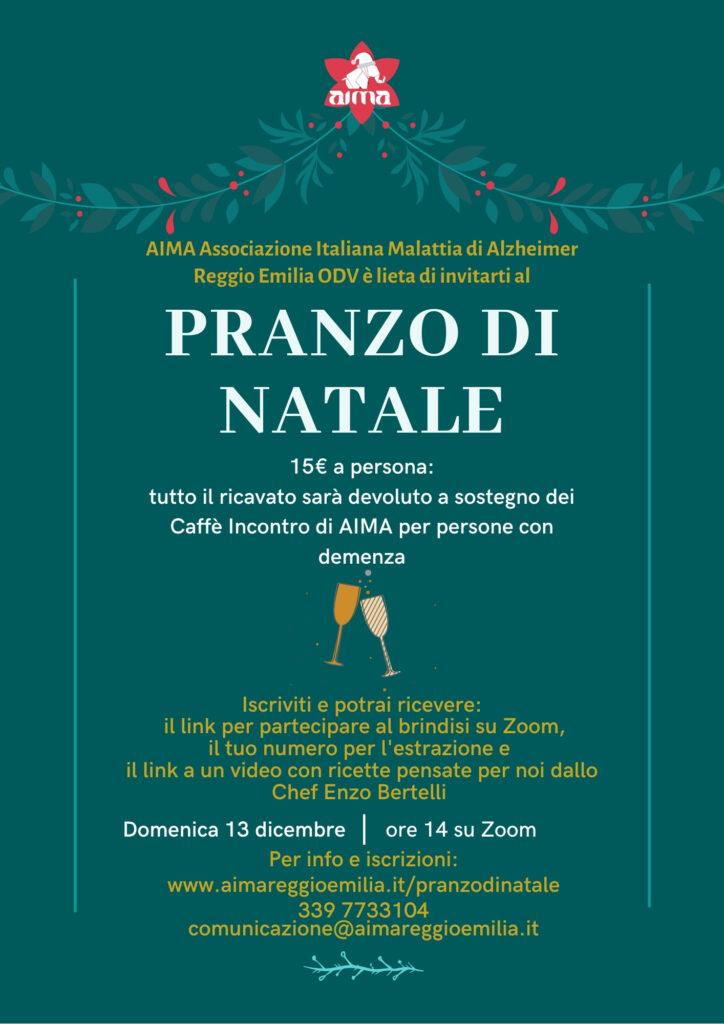 Locandina volantino Pranzo di Natale 2020 AIMA Reggio Emilia