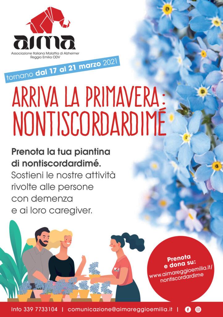 Locandina campagna di raccolta fondi nontiscordardimé per Alzheimer e demenza di AIMA Associazione Italiana Malattia di Alzheimer Reggio Emilia ODV