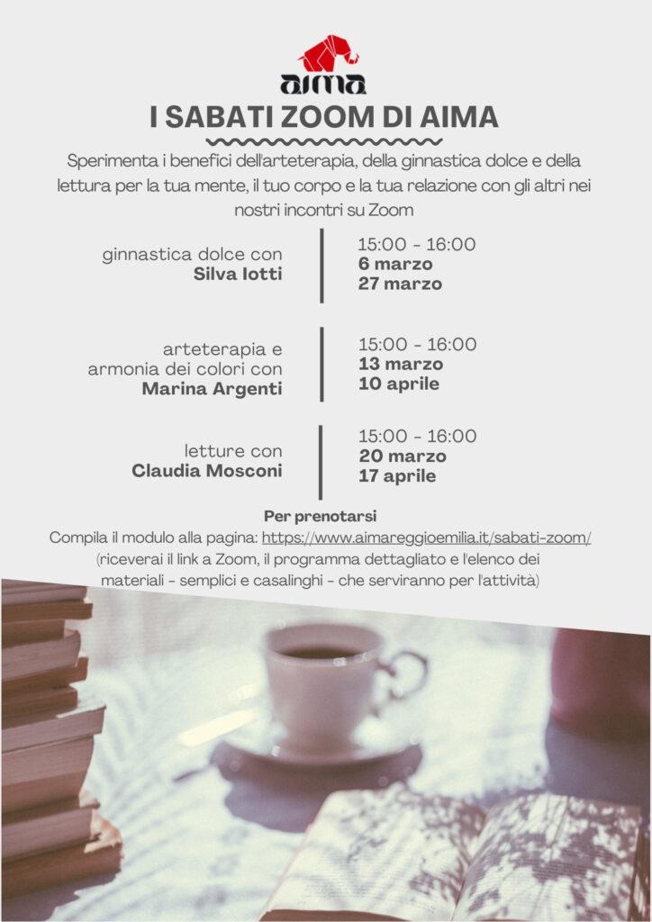 Volantino Sabati ZOOM di Aima Reggio Emilia con ginnastica dolce, arteterapia e letture