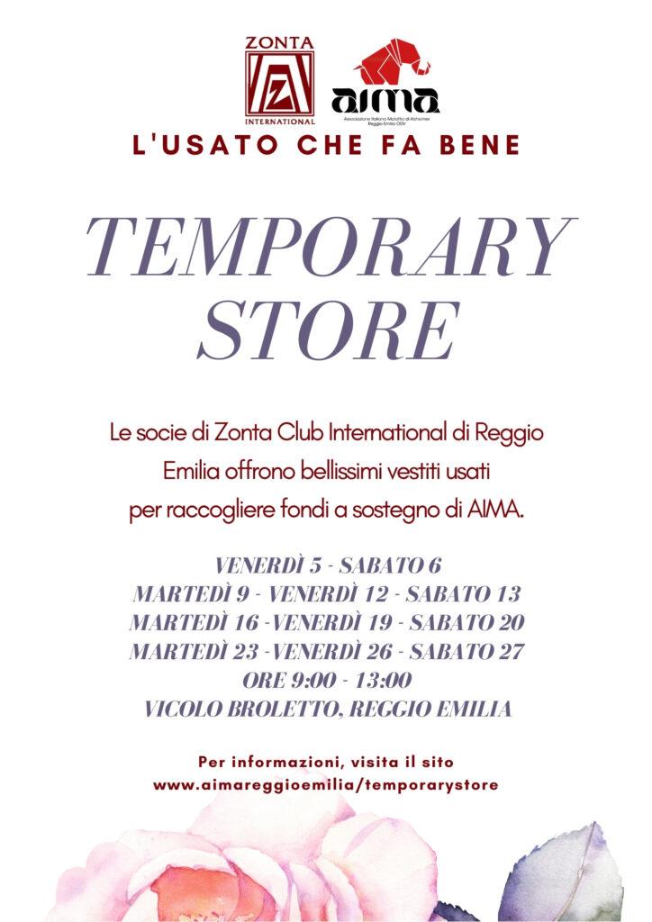 Volantino Temporary Store Zonta Club a sostegno di AIMA Reggio Emilia marzo 2021