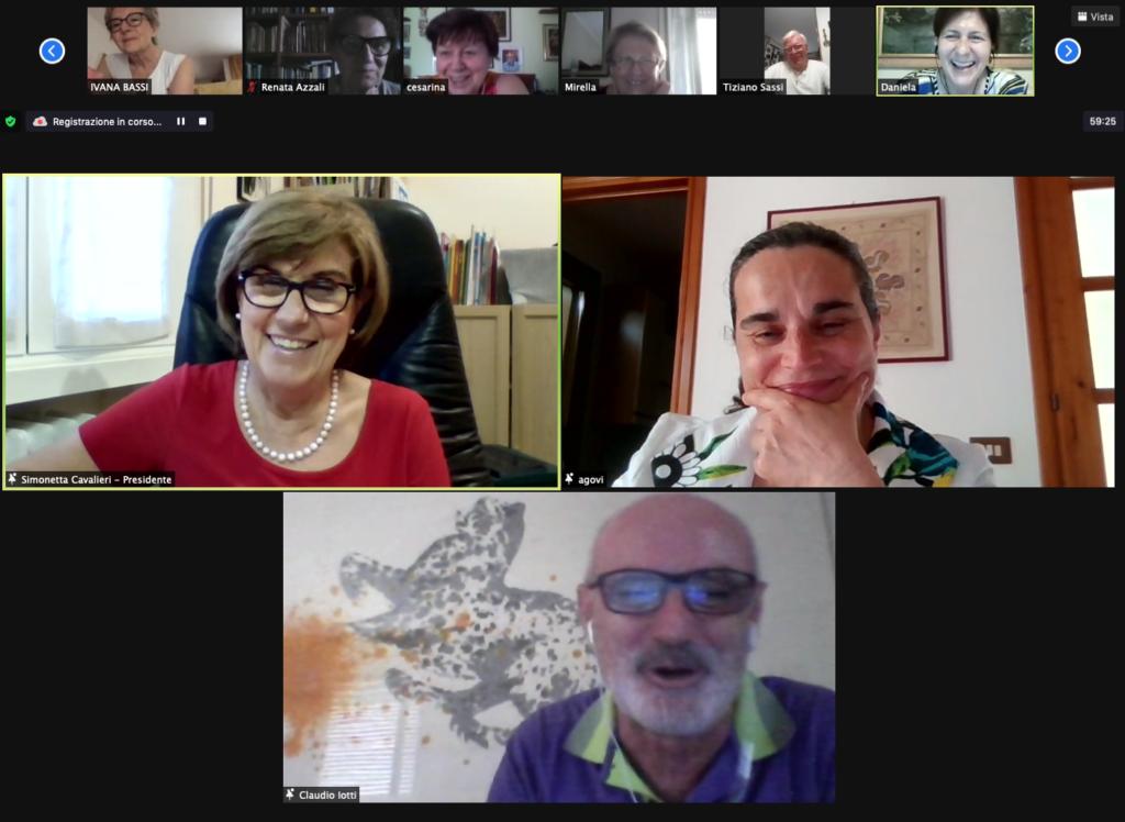 Schermata Zoom Assemblea dei Soci AIMA Associazione Italiana Malattia di Alzheimer Reggio Emilia 2021